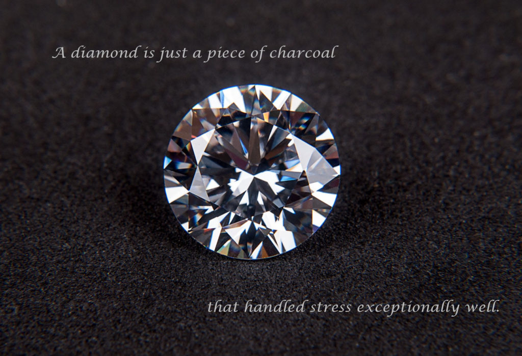 Diamond with quote about stress